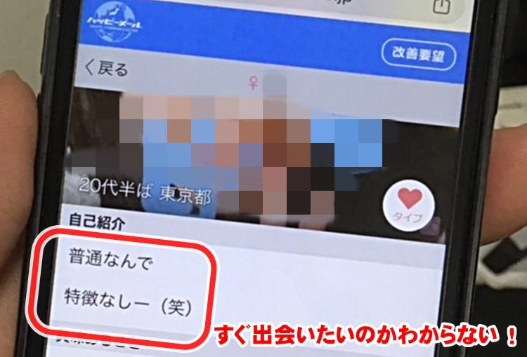 出会い系サイトの女プロフィール画面