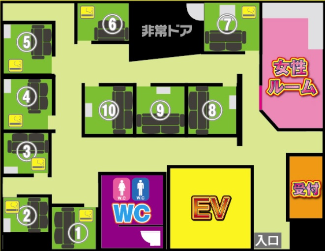 モモキャバ熟上野店の店内配置図