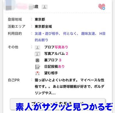 PCMAXのプロフィール画面
