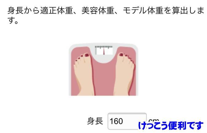 理想体重計算のサイト